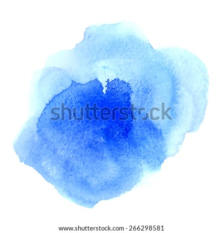 Vector rectangular blue watercolor drop. Abstract art hand paint isolated on white background. Watercolor stains. Watercolor banner  - stock vector