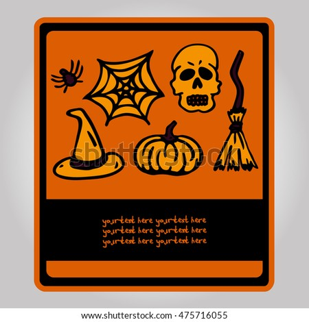 Vector Rectangular Postcard on Halloween. Images hats, pumpkins, spider webs, broom, etc. There is a place for your text. It can be used for packaging, invitations, greeting cards, etc.