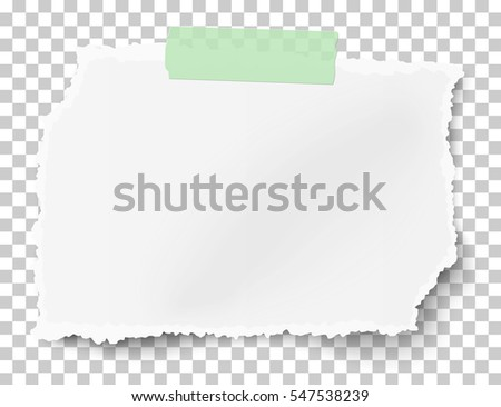 Vector rectangular square ragged paper scrap with soft shadow on sticky adhesive tape placed on transparent checkered background.