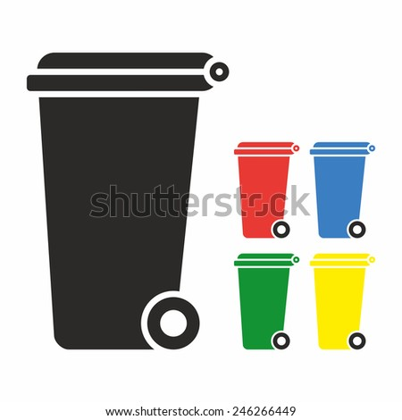 Vector Recycle Bin Trash and Garbage icon set - stock vector
