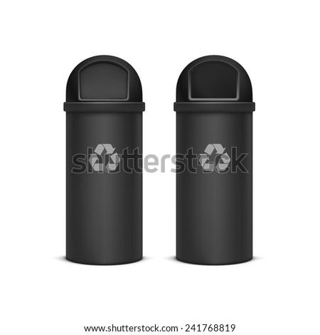 Vector Recycle Bins for Trash and Garbage Isolated on White Background - stock vector