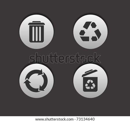 vector recycle icon set, includes four versions for your web design used. - stock vector