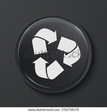 Vector recycle modern black glass circle icon. Eps10 - stock vector