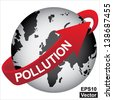 Vector : Recycle, Save The Earth, Stop Global Warming or Conservation Concept Present By Black Earth With Red Pollution Arrow Around  Isolated on White Background - stock vector