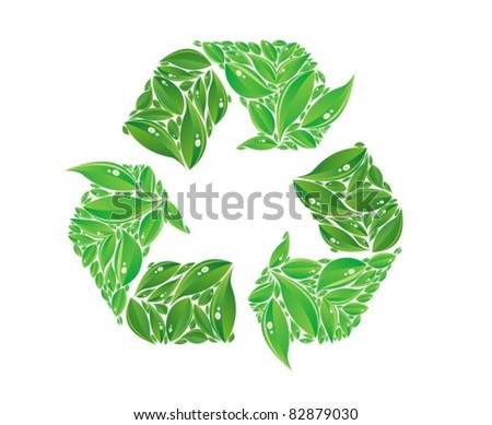 vector recycle sign made of leaves - stock vector