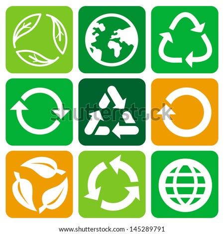 Vector recycle signs and symbols - set of flat icons - stock vector