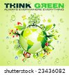 VECTOR Recycling World Concept Background with a lot of green and nature elements - stock photo