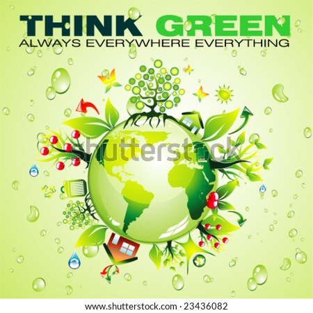 VECTOR Recycling World Concept Background with a lot of green and nature elements - stock vector