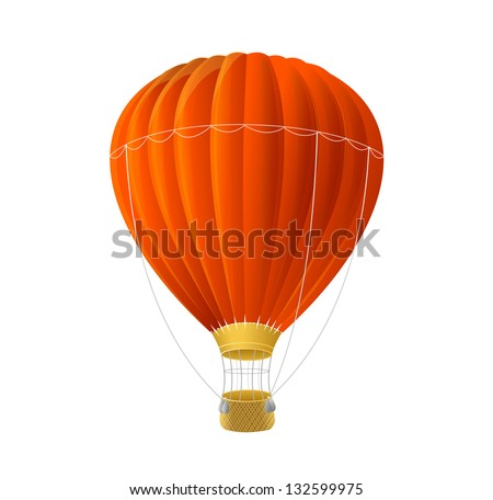 Vector red air ballon isolated on white - stock vector