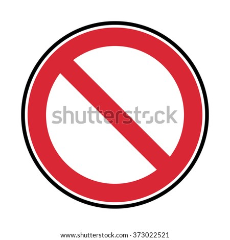 vector red and black prohibited symbol on white background