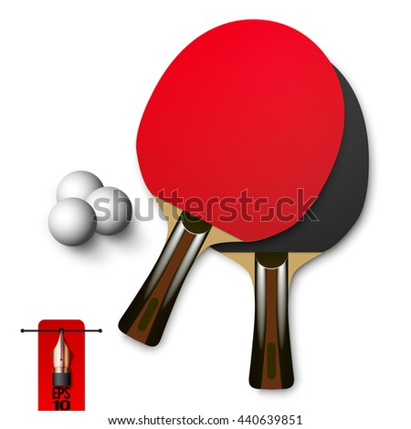 Vector red and black wooden table tennis rackets with balls. ping pong game - stock vector