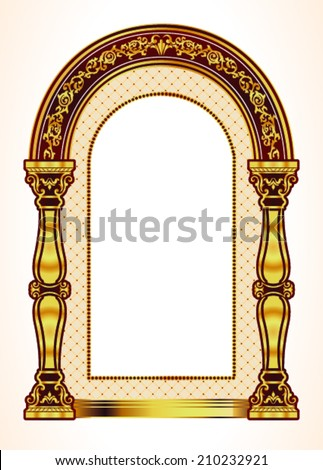 Vector Red and Gold Classic Arch - stock vector