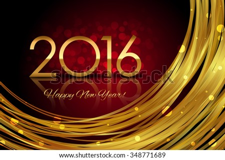 Vector 2016 red and gold glowing background - stock vector