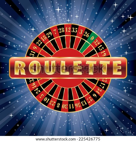vector red and golden sign with roulette wheel on starry night - stock vector