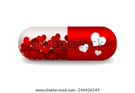 vector red and white pill of love with light shadow - stock vector