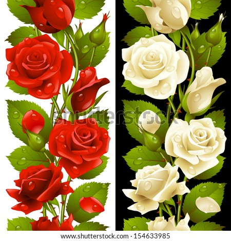 Vector red and white rose vertical seamless pattern isolated on background - stock vector