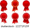 vector red award rosette set - stock photo