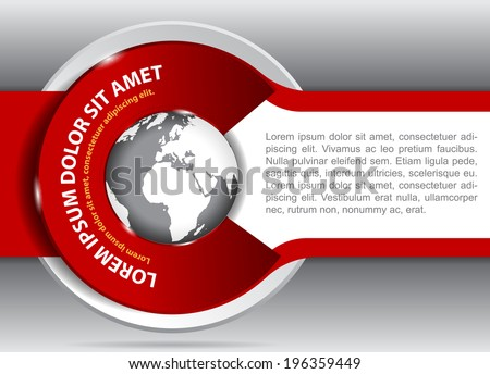 Vector red background for brochure or flyer with a globe. Suitable for spedition, transport and travel company. - stock vector