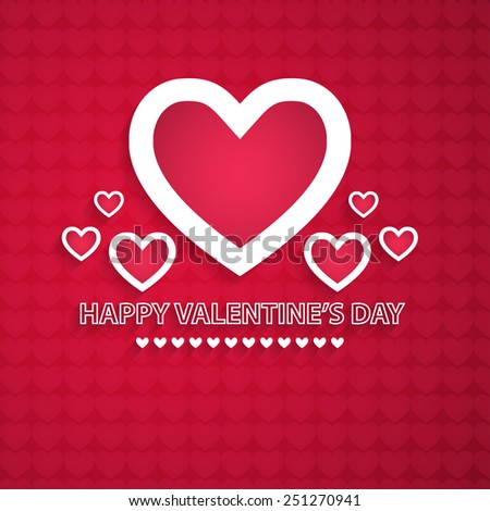 Vector red background valentine's day. Creative design with hearts. - stock vector