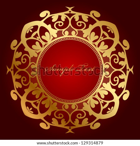 Vector red background with gold ornament - stock vector