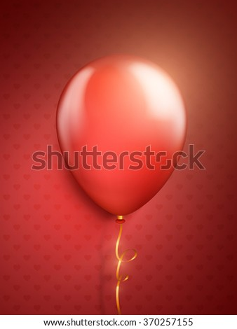 Vector red balloons in the shape of a heart on red background. - stock vector