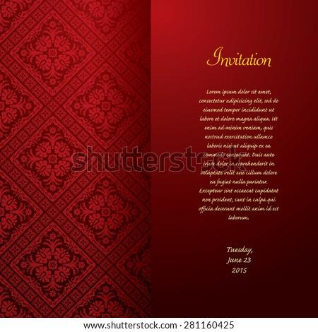 vector red baroque invitation card - stock vector