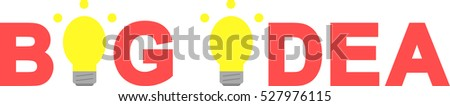 Vector red big idea text with glowing yellow light bulb.