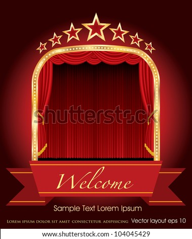 vector red blank banner on stage with red curtain and stars - stock vector