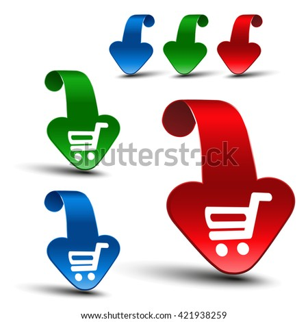 Vector red, blue and green 3D arrows with simple white symbol of shopping cart - trolley. Item, buy button on web page.