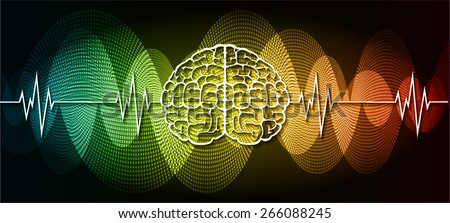 vector red blue yellow brain processes technology, creative idea concept. wave - stock vector