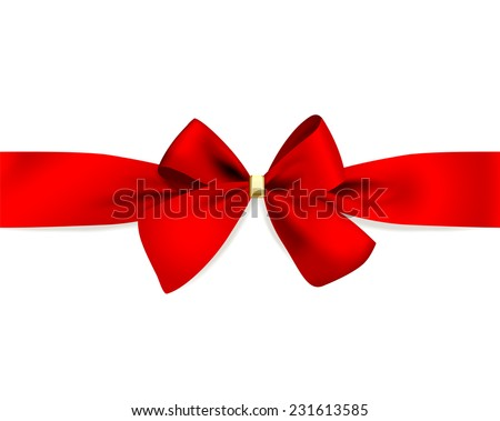 Vector red bow on red ribbon