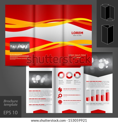 Vector red brochure template design with color stripes. EPS 10 - stock vector
