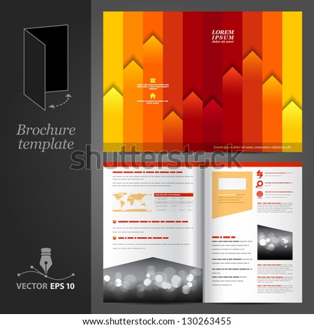Vector red brochure template design with orange and yellow stripes. EPS 10 - stock vector