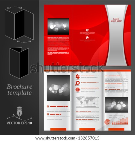 Vector red brochure template design with silver stripe. EPS 10 - stock vector