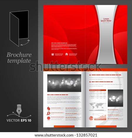 Vector Red Brochure Template Design Silver Stock Vector 2018