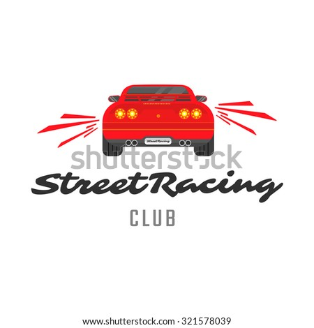 Vector red car emblem for street racing club. Back view. - stock vector