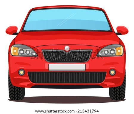 vector red car front view stock vector royalty free. Black Bedroom Furniture Sets. Home Design Ideas