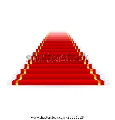 Vector red carpet on stairs - stock vector
