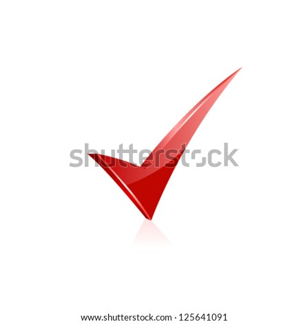 Vector red check mark. - stock vector