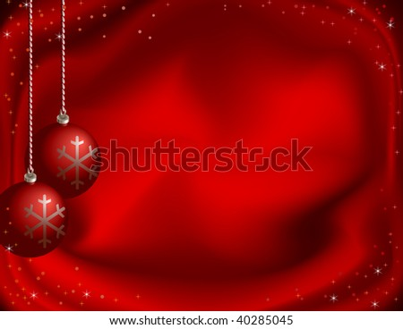 Vector red christmas background with Christmas-tree decorations, stars and snowflakes.