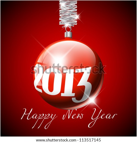 Vector red Christmas realistic baubles with the numbers of new year 2013 - stock vector