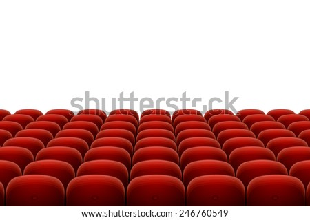 Vector red cinema, theatre seats isolated on white background - stock vector