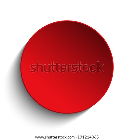 Vector - Red  Circle Button on White Background