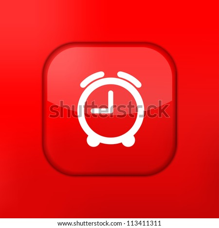 Vector red clock icon. Eps10. Easy to edit - stock vector