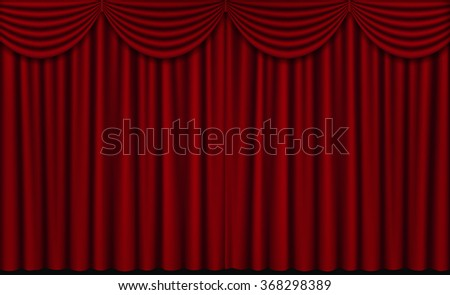 Vector Red Closed Theater Curtains, Horizontal