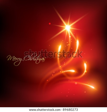 vector red color merry christmas background - stock vector