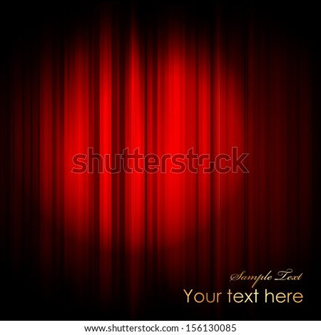 Vector red curtain with projector light - stock vector
