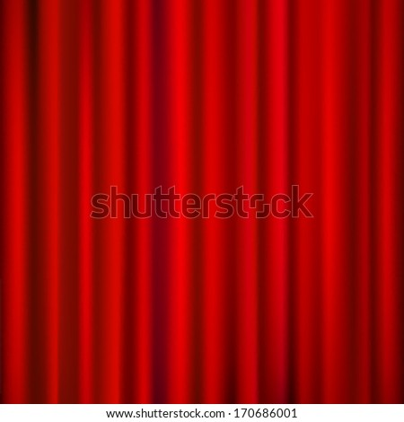 Vector red curtains  drapery background.