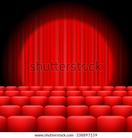 Vector Red Curtains with Spotlight and Seats. Classic Cinema with Red Chairs