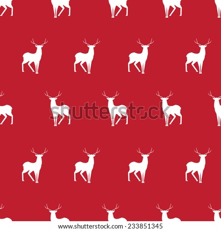Vector red deer minimalistic silhouette seamless pattern  - stock vector